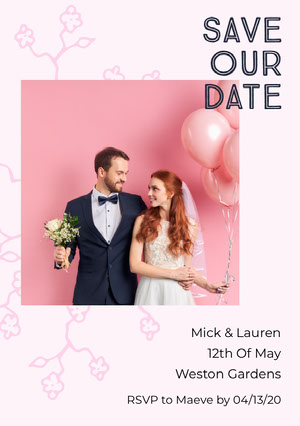 Pink Balloons Wedding Save the Date Card with Happy Bride and Groom Photo Save the Date