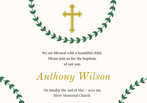 Green and Gold Baptism Announcement and Invitation Card Invitation de baptême