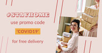 Pink Covid Coronavirus Stay Home Free Delivery Instagram Landscape  COVID-19 Re-opening