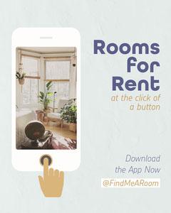 Blue Rooms for Rent App Instagram Portrait  For Rent Flyer