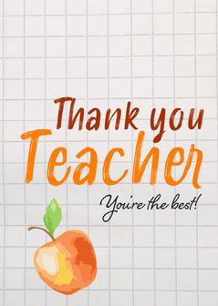 Orange Apple and Handwriting Thank You Teacher Appreciation Card Teacher