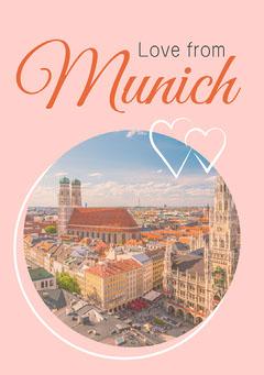 Pink Circular Munich A5 Postcard Love