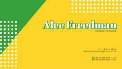 Yellow and Green Design Student Business Card Designer