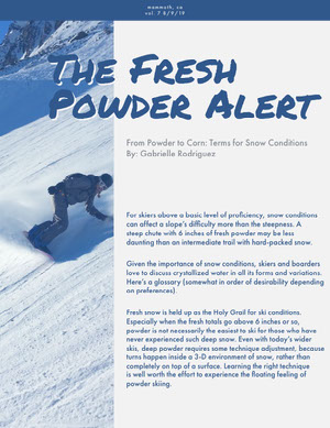 The Fresh Powder Alert Boletín