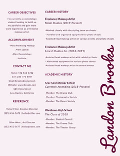 Cosmetology and Make Up Artist Resume Makeup