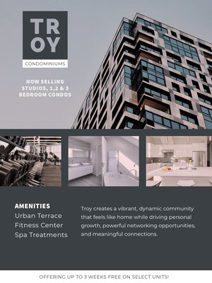 Blue With Modern Building Apartament For Sale Announcement Real Estate Postcard Templates