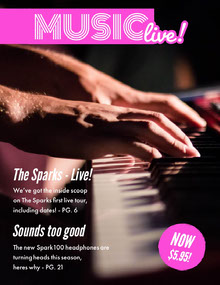 Pink Music Magazine Cover with Hands Playing Piano  Magazine Cover