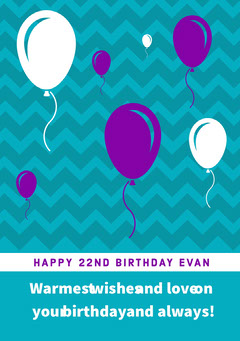 Teal and Purple Balloons Happy Birthday Card Balloon