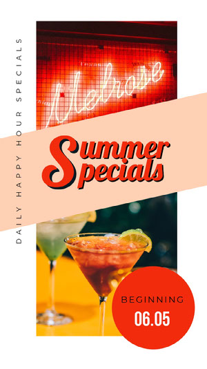 Colorful With Drink Summer Specials Instagram Profile Happy Hour Invitations