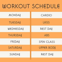 Orange & Grey Simple Weekly Work Schedule Instagram Square Workout
