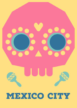 Pink and Yellow Illustrated Mexico Postcard with Calavera Vykort