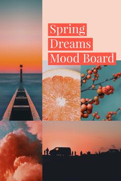 Orange Spring Dreams Mood Board with Collage Spring