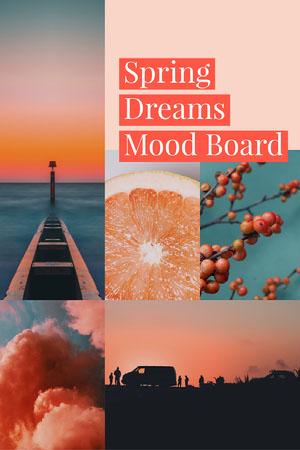 Orange Spring Dreams Mood Board with Collage Mood board