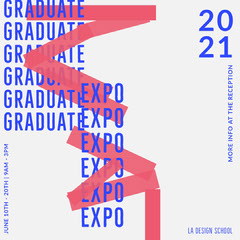 Blue, Red and White Graphic Typography Graduate Expo Instagram Square Typography