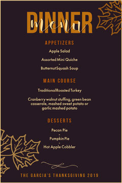 purple leaf thanksgiving menu Thanksgiving Menu