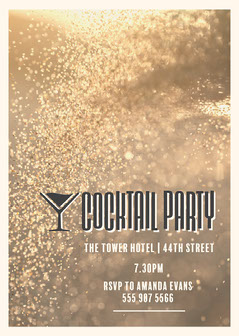 Gold Cocktail Party Invitation Cocktails