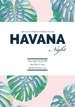 White Black With Green Leaves Havana Night Invitation Invitación a despedida de soltera