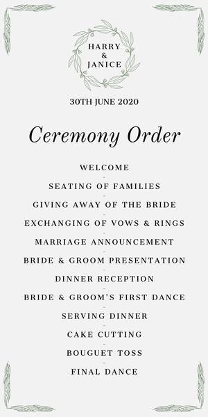 Green Elegant Wreath Wedding Program Programme de mariage