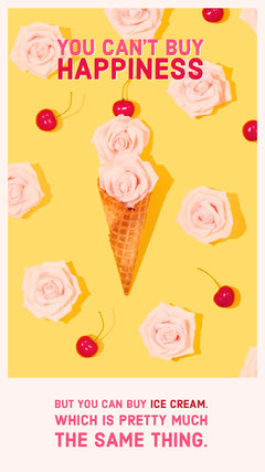 Yellow and Pink With Ice Cream Quote Social Post Ice Cream Social Flyer