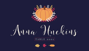 Pumpkin Thanksgiving Party Place Card Paikkakortit