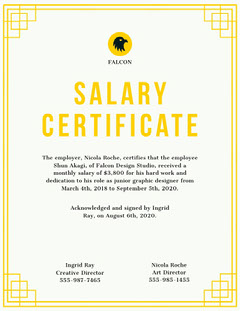 Yellow Frame Graphic Design Company Salary Certificate Frame