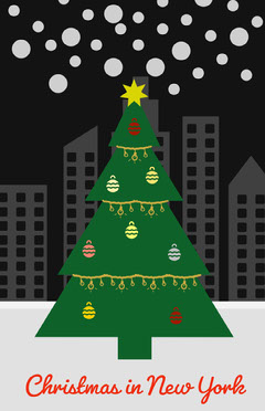 Illustrated Christmas in New York Flyer Trees