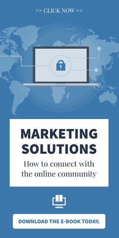 Blue and White Marketing Solutions Advertisement Marketing