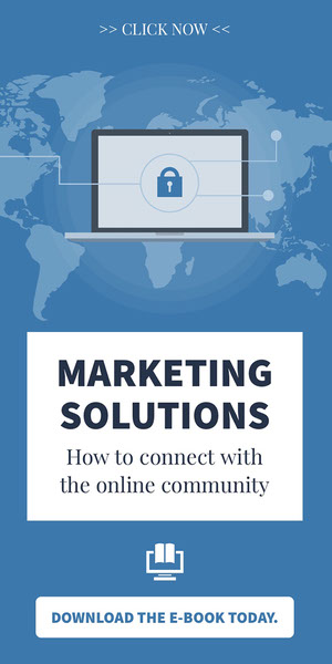 Blue and White Marketing Solutions Advertisement Advertisement Flyer