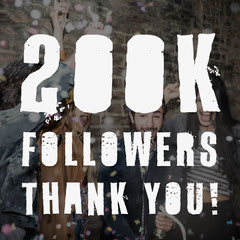 Celebrating People Background Thank You For 200K Followers Typography Instagram Square Thank You Poster