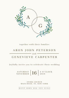 White and Green, Light, Delicate, Minimalistic, Plant Motive, Wedding Invitation Card Rustic Wedding Invitation