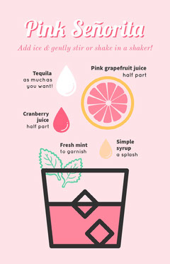Pink and Black Shake Recipe Poster Cocktails