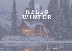 Light Toned, Hello Winter, House over Lake, Postcard Winter
