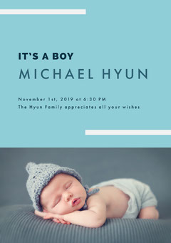 Blue and Sleeping Baby Birth Announcement Day Care