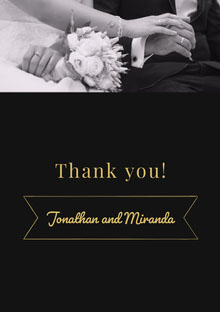 Black White and Yellow Wedding Thank You Card Cartão Obrigado pela presença