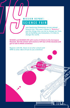 White, Blue and Pink Science Fair Poster After School