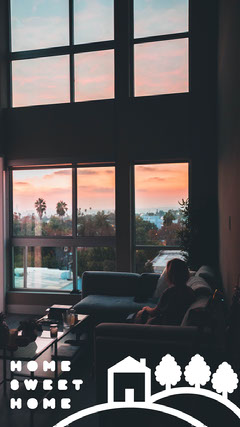 Home Sweet Home Snapchat Filter with Woman in Living Room at Sunset Sweet Home