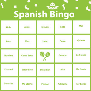 Green Spanish Bingo Card Bingokort