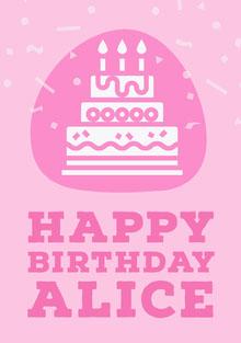Pink Feminine Cake and Confetti Happy Birthday Card Birthday Card