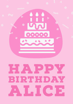 Pink Feminine Cake and Confetti Happy Birthday Card Confetti
