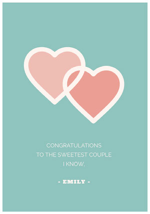 Teal and Red Happy Marriage Anniversary Card with Hearts Carte d'anniversaire de mariage