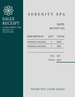 spa sales receipt  Massage Flyer