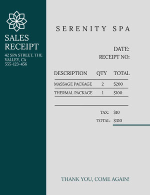 Green and Grey Serenity Spa Sales Receipt  Report Card