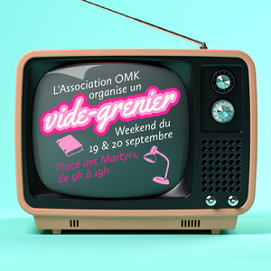 Pink and Blue Vintage Tv Garage Sale Instagram Square Annonce