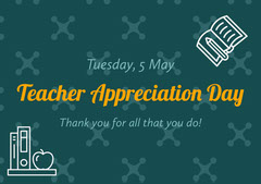 Teal and Orange Teacher Appreciation Day Card Teacher