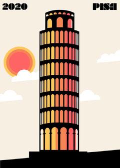 Pisa Tower Postcard Italy