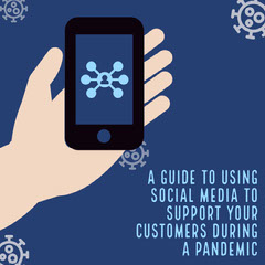 Blue Hand holding Phone Pandemic Social Media Guide Instagram Square Social Media Flyer