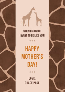 Brown and Beige Giraffe Print Mothers Day Card Mother's Day Card