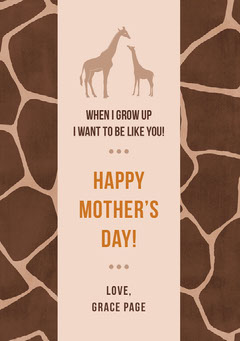 Brown and Beige Giraffe Print Mothers Day Card Animal