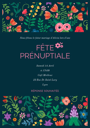 colorful floral wedding invitations  Invitation de mariage