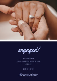 Navy Blue and Couple Hands Engagement Invitation Boda